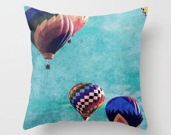 Hot Air Balloon Throw Pillows - Fly Away Decorative Pillows - Couch Pillows - Sofa Pillows