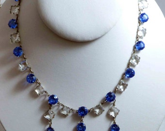 Art Deco Sapphire Blue and Clear Drippy Crystal Necklace