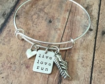 Running Bracelet-LIVE LOVE RUN Fitness Jewelry Collection Runners Expandable Bangle Bracelet