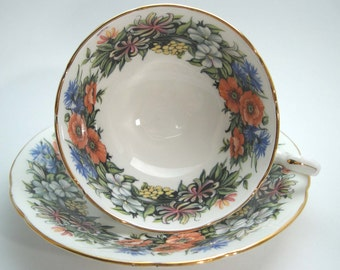 Paragon Tea Cup And Saucer ,  Paragon Floral tea cup, White tea cup with Flowers