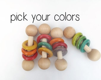 Wooden Baby Rattle Baby Gift Personalized Toy