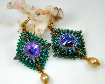 "Beading pattern PDF file instant download ""Kite earrings"""