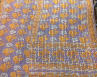 Authentic Vintage Indian Purple and Lavender Kantha