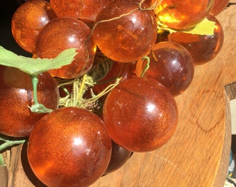 Vintage Acrylic Amber Grapes With Plastic Leaves on Branch Mid Century