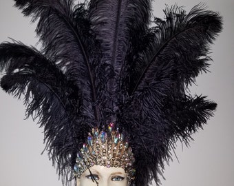 Black Ostrich  Feathers New Crown MADE IN USA