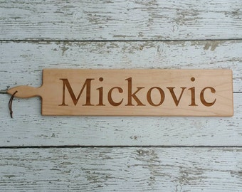 26 inch- Personalized French Bread Board in Walnut or Maple- PRINT Name Engraved Wedding Gift- By Red Maple Run