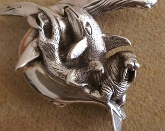 "Rare fr Mexico!  Pure Silver Brooch Features Aquatic Sea Mamals, 2"""