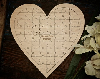 Personalised Heart Puzzle - Guest Book Alternative - Laser Engraved - Wedding Guest Book