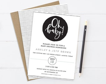 Oh Baby! Minimal Black and White Baby Shower Invitation