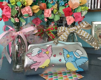 Vintage Silver Lame Clutch Handbag Hand Painted Love Birds I Do Wedding Purse