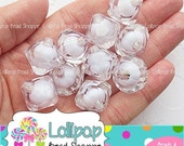 SALE 18mm CLEAR White Bead In Bead Bicone Beads Faceted Chunky Beads Diamond Shape 10 Transparent Acrylic Bubble Gum Beads Plastic Bubblegum