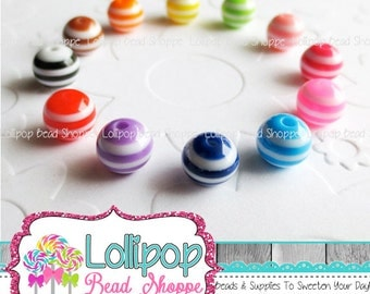 Striped Beads 8mm Beads Colorful Striped Resin Beads Round Beads Plastic Bottlecap Bead Bubblegum Beads Bubble Gum Bead YOU PICK COLOR