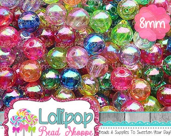 8mm AB Transparent Acrylic Beads Iridescent Beads Round Plastic Beads Mixed Clear Rainbow Gumball Beads Bubblegum Beads Bottle Cap Beads