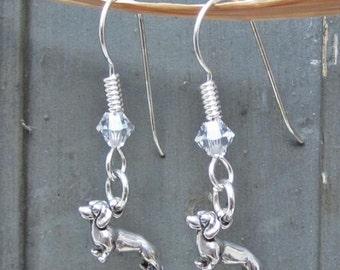Dachshund Dangle Earrings - Sterling Silver Mini