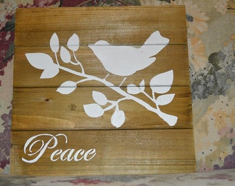 """Repurposed Sqaure Wood Sign with Bird and """"Peace"""" in white"""