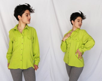 LIME GREEN 80s Long Sleeve Collared Button Up Neon Highlighter Green Light Weight 1980s Hippe Retro Small S