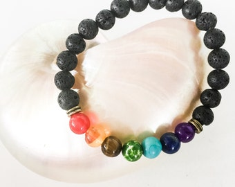 Essential Oil Bracelet w/ Lava Beads & Chakra Beads - Aromatherapy Bracelet Diffuser Gift for Her - Rainbow