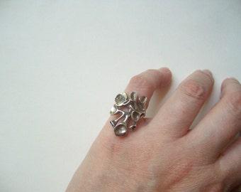 Vintage sterling silver modernist ring, sterling silver brutalist ring, Scandanavian style, reindeer moss, statement ring, size 5 silver