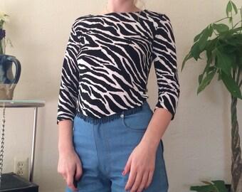 Zebra Shirt with Beaded Tassles