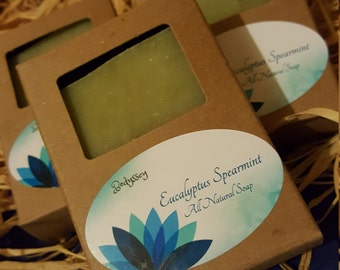 Eucalyptus and Spearmint, all natural 5 oz homemade olive oil and shea butter soap