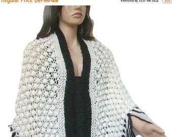 ON SALE Crochet White, Black Mohair Shawl, Long Fringe, Women Accessory, Ready to Ship