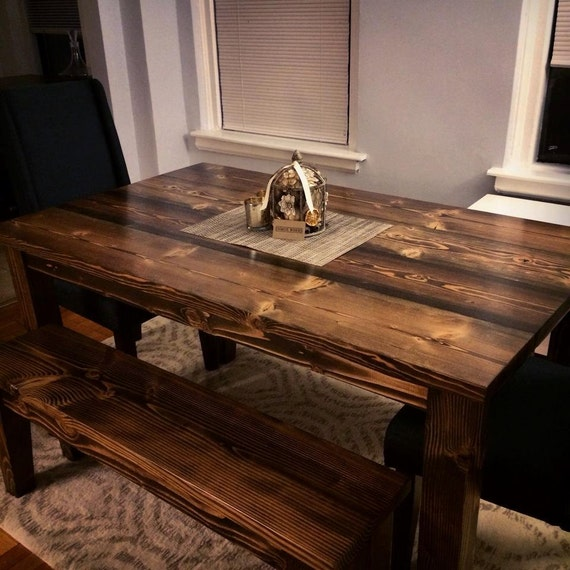 60 farmhouse table solid wood farmhouse dining table for Solid wood farmhouse table
