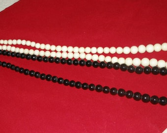 Long GRADUATED IVORY Bead NECKLACE