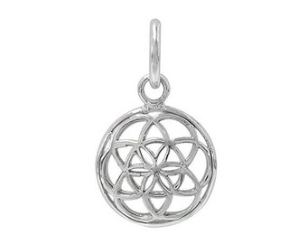 Flower of Life Filagree Sterling Silver .925 Charm Bright Silver Domed 12.5mm