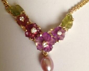 Custom Handmade Floral Gemstone Necklace