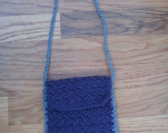 Ready to ship: Purple cross body pouch purse with gray trim and strap.