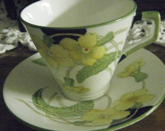 ANTIQUE DELPHINE CHINA Made in England Art Deco style numbered 1134 Yellow floral green and black trim