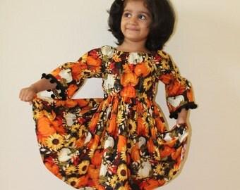 Girls Halloween /Thanksgiving dress, toddler Halloween dress