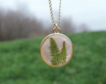 Pink and Gold Fern Resin Necklace