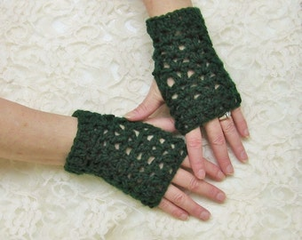 Dark Green Crochet Fingerless Gloves Texting Gloves Wristwarmers Fall Winter Accessory