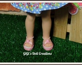 Doll Sandals  fits 14.5 inch Girl dolls such as Wellie Wishers Dolls, Wellie Wisher, American made Doll Shoes, Pink Sandals