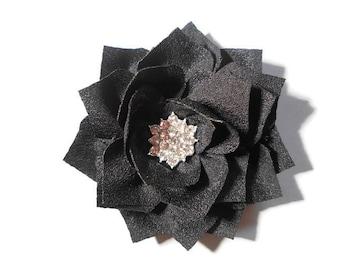 Lotus Flower Hair Clip - Girls Black Hair Clip - 2.5 inch