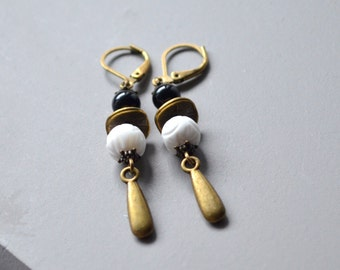 pearl earrings ethnic porcelain