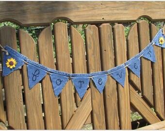 Rustic Sunflower Wedding Banner, Denim & Sunflower Forever Banner, Forever Wedding Banner, Forever Wedding Decor, Sunflower Wedding, Forever