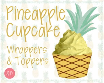 Pineapple Cupcake Wrappers & Toppers Party Printable Set [Instant Download]
