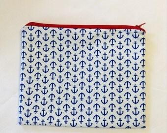 Blue Anchors Zipper Pouch