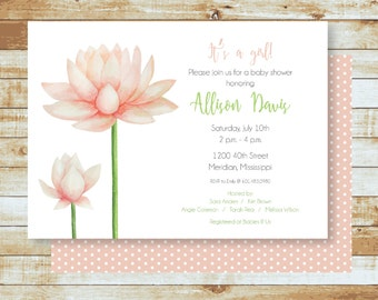 Bridal Shower Invitation / Pink Watercolor Flower