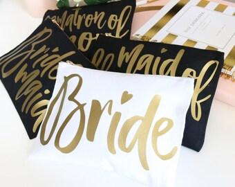 Bride Bridesmaid Cosmetic Makeup Bag Toiletry Travel Case Custom Monogram Name Bridesmaid Gift Make Up Bag for Best Friend