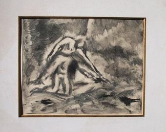 Hagar-ORIGINAL MONOTYPE PRINT-Allegorical-Fine Art Print