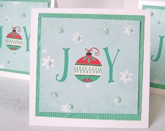 Chiristmas note cards, 4 mini greeting cards, Holiday notecards, Lunch box cards, gift enclosures, Joy message, ornaments, snowflakes