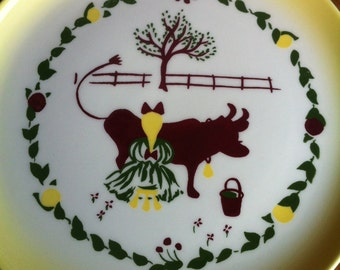 A Decorative Ceramic Plate Of A Girl Milking A Cow Marked Brock