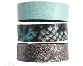 Set of 3 leather bracelets mint snakeskin