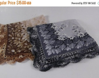 ON SALE Embroidered Hankie Pair Hand Embellished Brown and Black