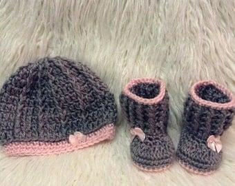 Newborn girl hat and boot crochet set
