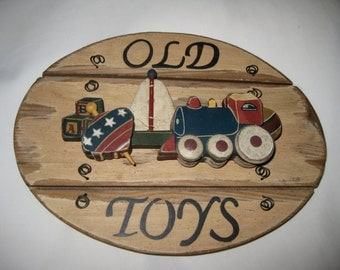 50% Off Children's Toy Sign OLD TOYS Plaque