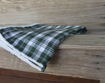 Flannel Swaddle Blanket for Baby Infant Green White